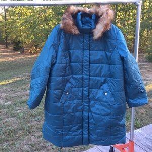 Roaman's fur hooded puffer parka jacket 1X teal
